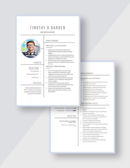 DB Developer Resume Download