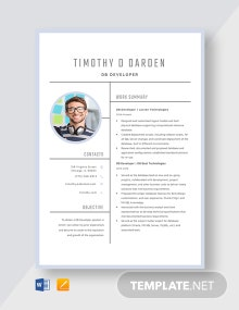DB Developer Resume Template