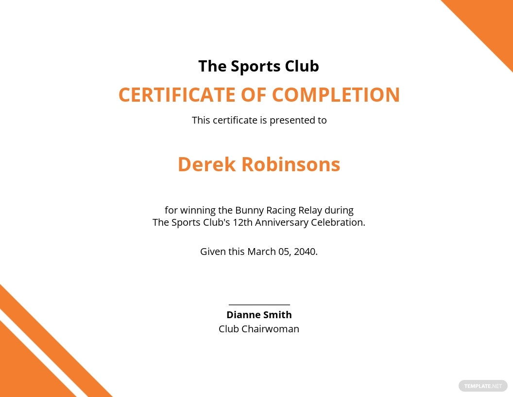 Funny Sports Completion Certificate Template.jpe