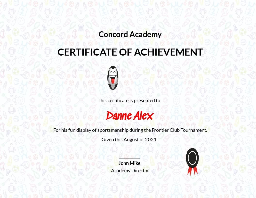 Funny Sports Achievement Certificate Template
