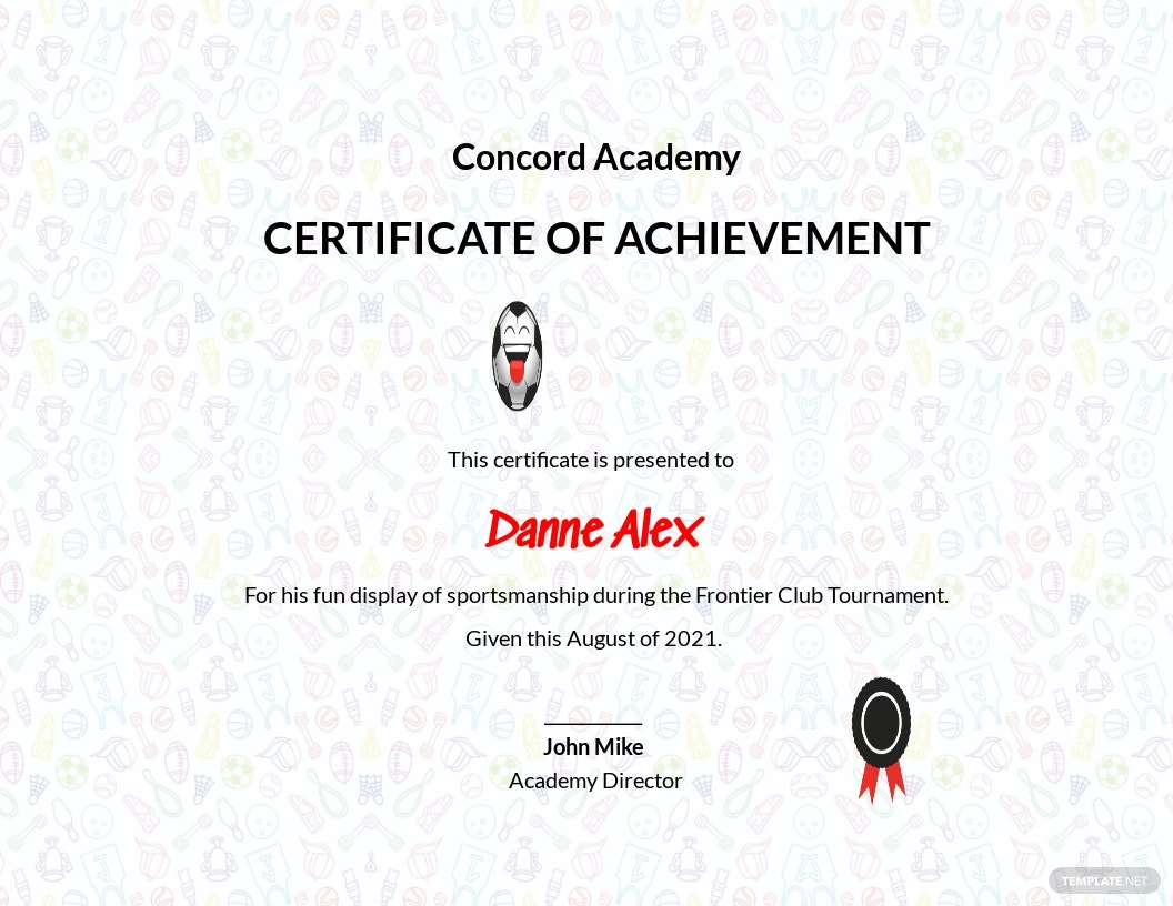 Funny Sports Achievement Certificate Template.jpe