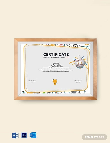 Funny Sport Appreciation Certificate Template