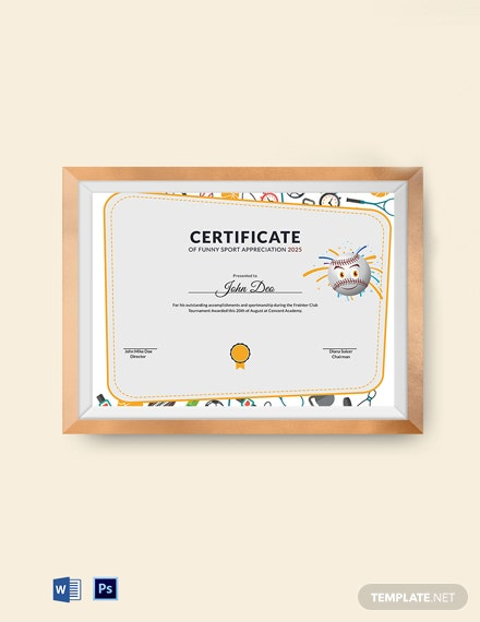 funny sport appreciation certificate