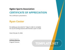 Funny Sports Training Certificate Template