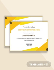 Funny Sports Participation Certificate Template
