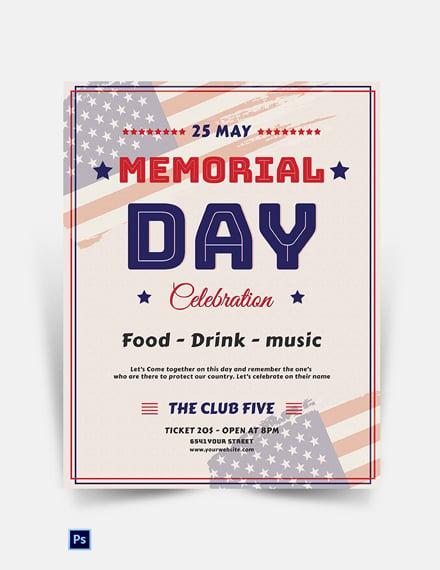 Memorial Day Celebration Flyer Template
