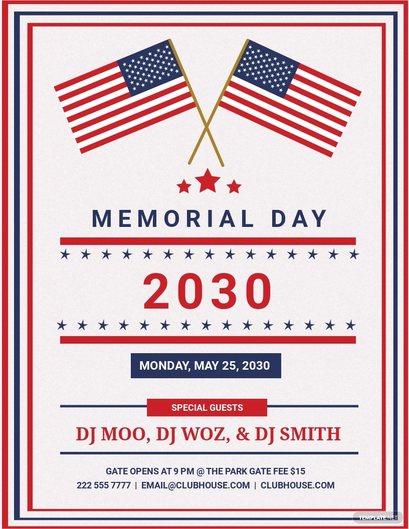 Editable Memorial Day Patriotic Flyer Template