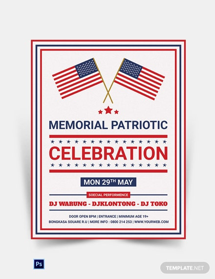 Editable Memorial Day Patriotic Flyer