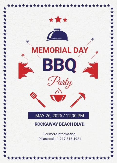Memorial Day BBQ Invitation Template