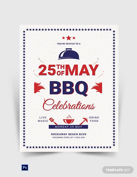 Memorial Day BBQ Invitation Template