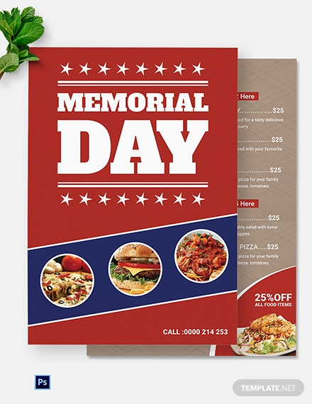 Memorial Day Menu Template