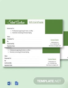 Free Auction Gift Certificate Template