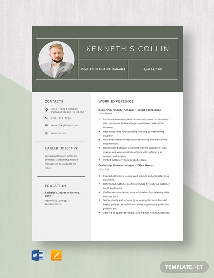 Dealership Finance Manager Resume Template