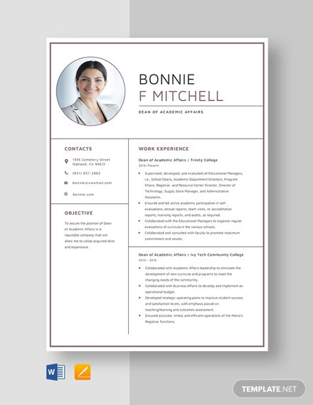 dean of academic affairs resume template