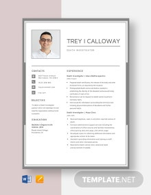 Death Investigator Resume Template