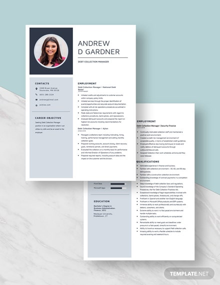 Debt Collection Manager Resume Download