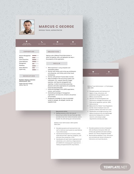Defense Travel Administrator Resume Download