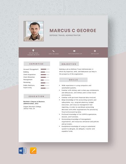 Defense Travel Administrator Resume