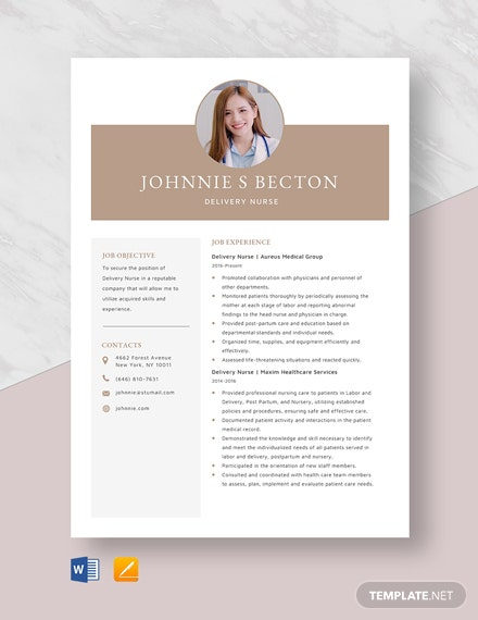 Delivery Nurse Resume Template
