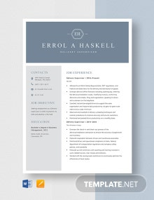 Delivery Supervisor Resume Template