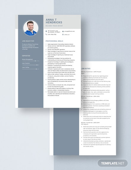 Delivery Truck Driver Resume Download