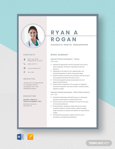 Diagnostic Medical Sonographer Resume Template