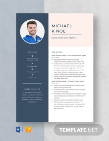 Diesel Mechanic Helper Resume Template