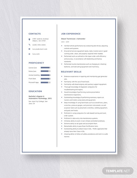 Diesel Technician Resume Template