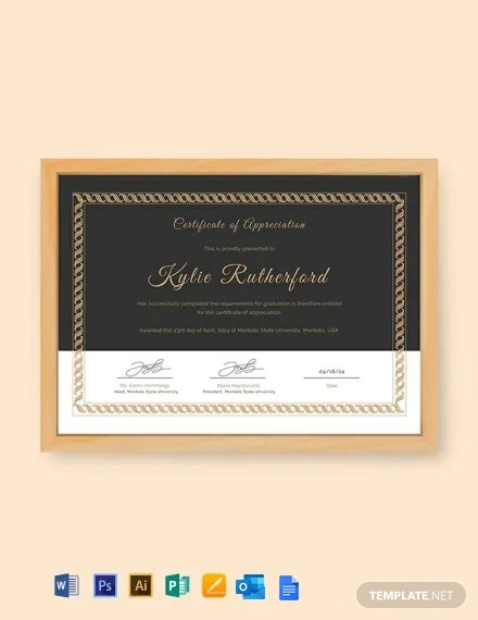 Free Appreciation Certificate Template for Graduation