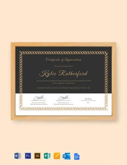 Free Appreciation Certificate Template for Graduation