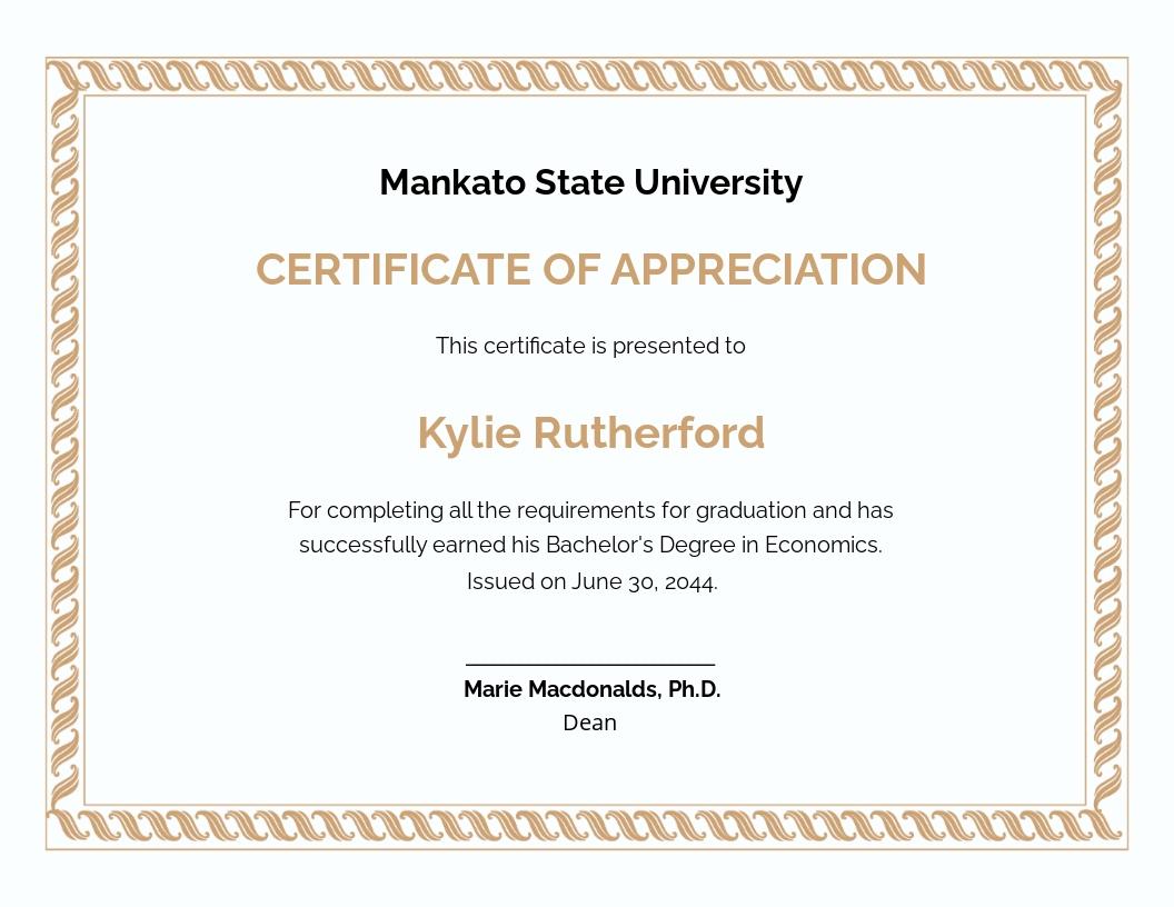 Appreciation Certificate Template for Graduation