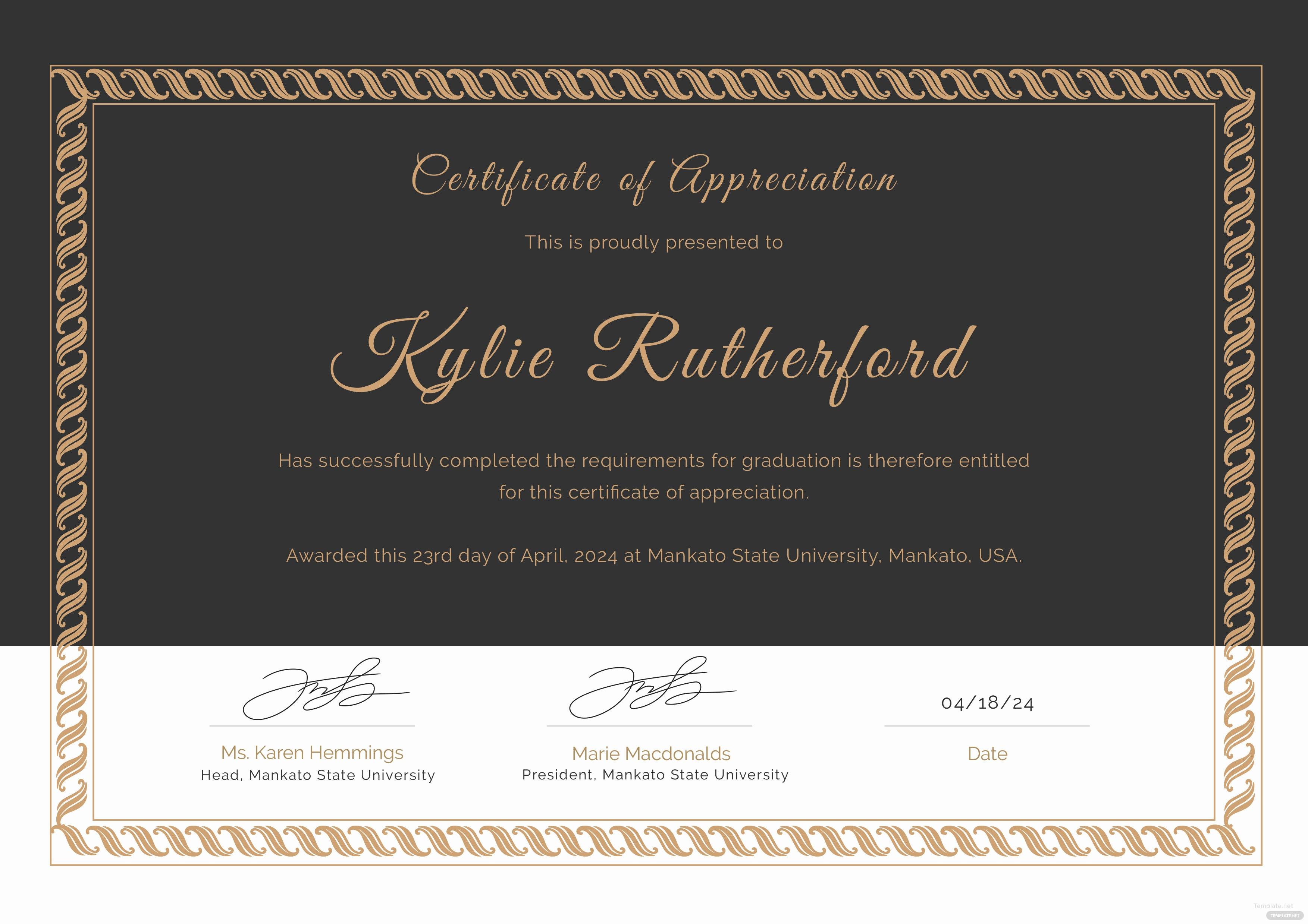Free graduation appreciation certificate template in adobe photoshop click to see full template editable graduation appreciation certificate yadclub Images