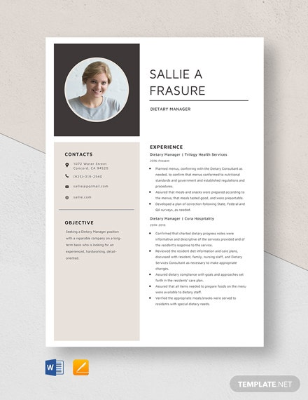 Dietary Manager Resume Template