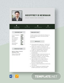 Group Operations Manager Resume Template