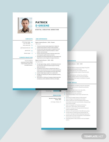Digital Creative Director Resume Download
