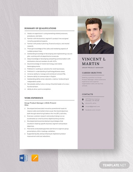 Group Product Manager Resume Template