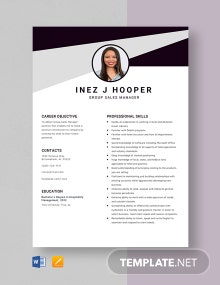 Group Sales Manager Resume Template