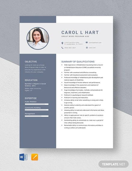 Group Work Program Aide Resume Template