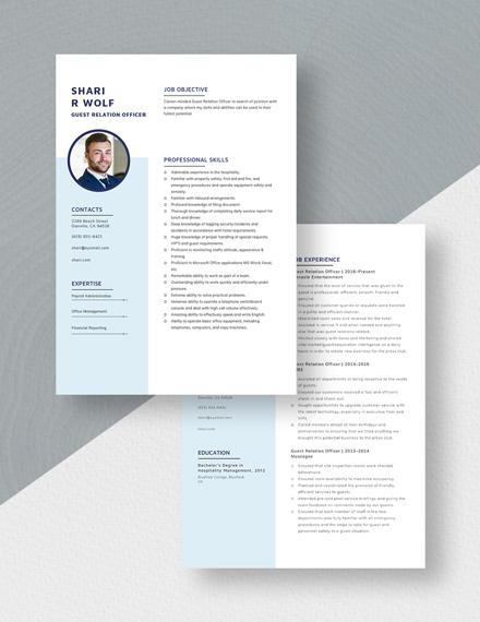 Guest Relation Officer Resume Download