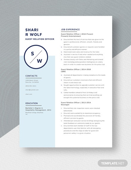 Guest Relation Officer Resume Template