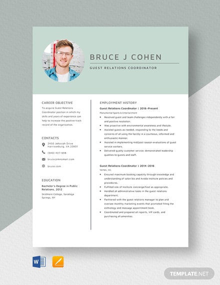 Guest Relations Coordinator Resume Template