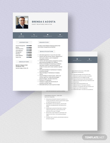 Guest Relations Executive Resume Download
