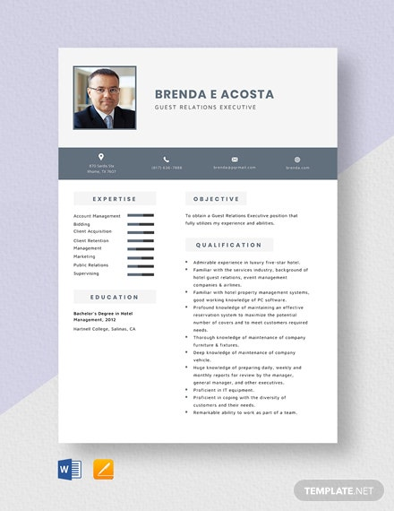 Guest Relations Executive Resume