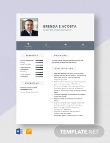 Guest Relations Executive Resume Template