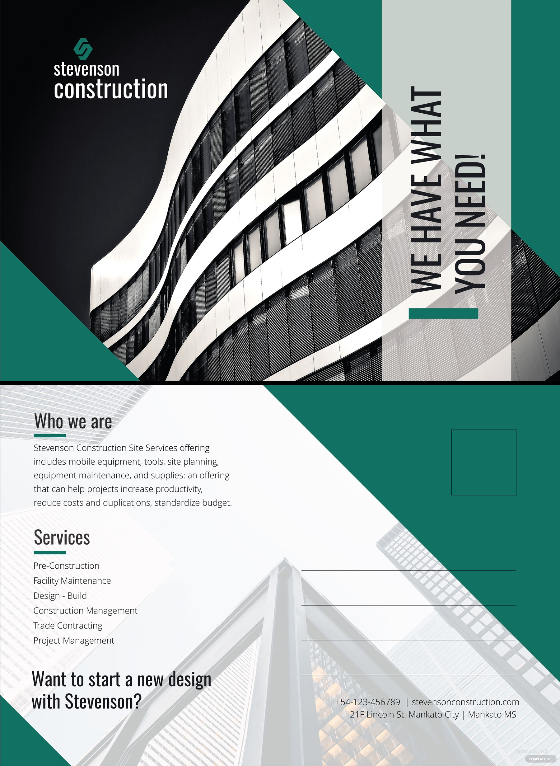 Free Construction Business Postcard Template In Microsoft Word - Unique business postcard template ideas