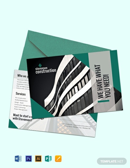 Free Construction Business Postcard Template