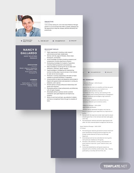 Guest Relations Manager Resume Download