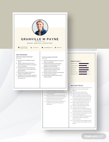 Guest Service Assistant Resume Download