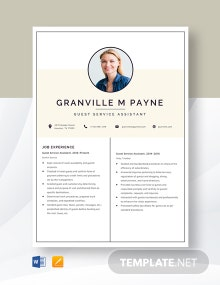 Guest Service Assistant Resume Template