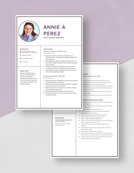 Guest Service Associate Resume Download